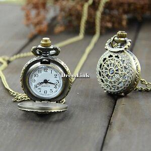 Vintage-catena-bronzo-Steampunk-quarzo-pendente-della-collana-Clock-Pocket-Watch