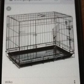Large dog cage 107l 70 w 70h cm with 2 doors and tray excellent condition