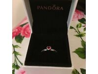 Pandora delicate red heart ring, size 52