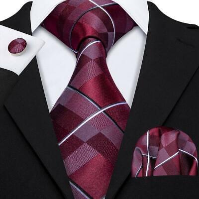 USA Red Burgundy Plaids Checks Tie Set Mens Silk Necktie Pocket Square Cufflinks Check Square Cufflinks