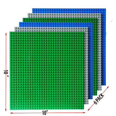 "6  Stackable 10x10"" Baselate or 32x32 base plates, Compatible to lego 10700"