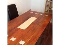 Large table, real wood with marble inlay