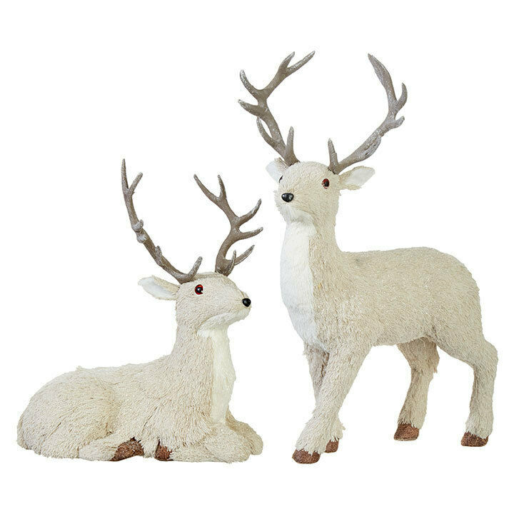 "RAZ Imports Large 19"" Deer Reindeer Set/2 Christmas Cream Cabin NEW!"