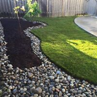 A Couple Landscapers ; New Grass, Stone, Garden Beds and more
