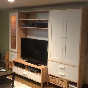 White and Pine Ikea Wall unit