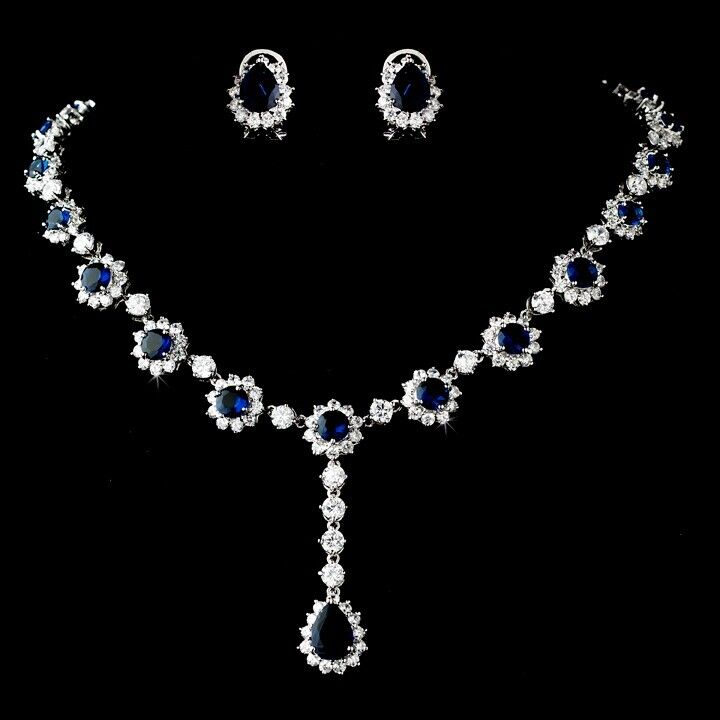 Elegant Bridal Floral Sapphire CZ Rhinestone Necklace & Earring Jewelry Set