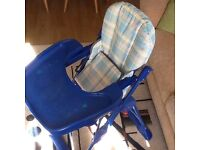 High chair mother care blue - needs a new straps for inside - works fine