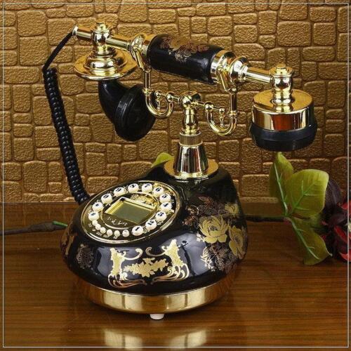 Black Ceramic Retro Vintage Antique Style Push Button Dial Desk Phone