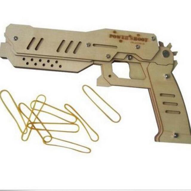 DIY Wooden  rubber band  Education Pistol gun Toy machine maverick 8 Shot H