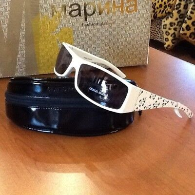 New Giorgio Armani Sunglasses Blue Lenses +White with Floral Print Temples (Sunglasses With Printed Lenses)