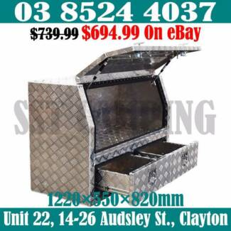 2 Bottom Drawers Aluminium Half Side Opening Toolbox 1220x550x820