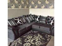 ✨Elegant Sofa Brand💥 New Sofa Shannon black & Grey Corner or 3+2 seater Sofa IN STOCK 🚚