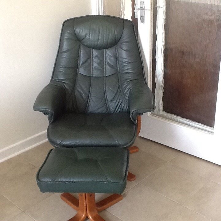 Green Leather swivel chair with matching stool good condition mustsell moving house