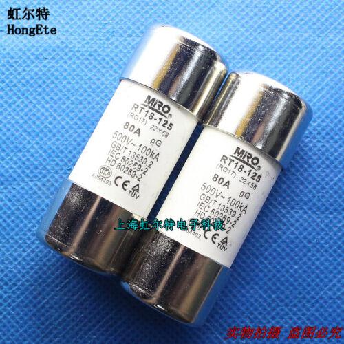 2PCS NEW RO17 RT18-125 80A 500V  Fused Ceramic Fuse #Q8044 ZX