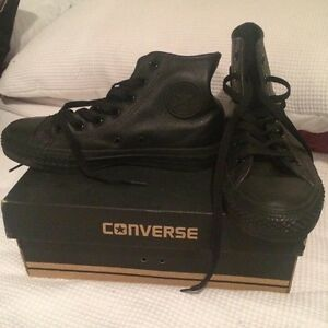 Black Leather hi-top converse size 6 women's size 4 men Cronulla Sutherland Area Preview