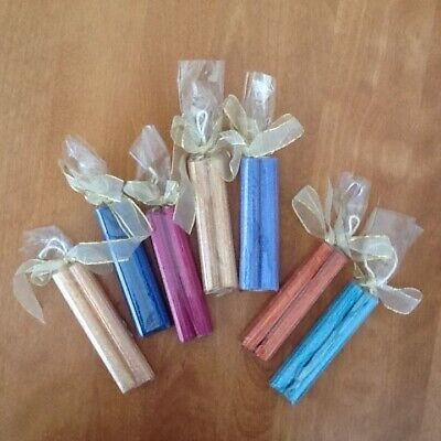Mini beeswax candles 7 pairs iridescent glitter new old stock party -