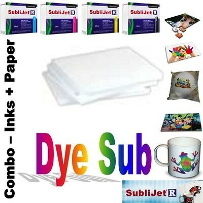 Sublimation Combo Sublijet-r Ink Set Cmyk For Ricoh Sg 3110d 100 Sheets Paper
