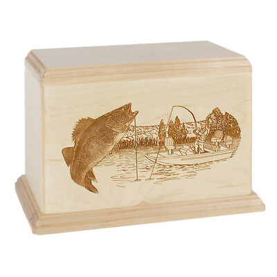 Wood Cremation Urn (Wooden Urns) - Maple Walleye Boat Fishing
