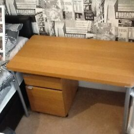 Wood effect desk table top with 4 grey metal legs and matching office drawer cabinet 2 drawers vgc