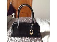 John Rocha black leather handbag