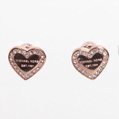 Michael Kors Rose Gold Tone Logo Heart Charm Earrings