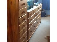 Real pine wood tall chest of drawers