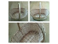 Mixed selection of 3 baskets, 2 new, 1 preloved, storage, photography prop.