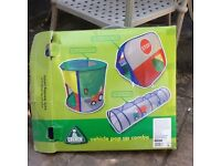 ELC VEHICLE POP UP TENT/TUNNEL COMBO 2-8 YRS GOOD CONDITION