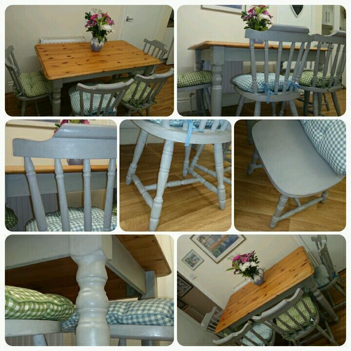 Shabby Chic Country Farmhouse Pine Annie Sloan Paris Grey Dining Table Chairs