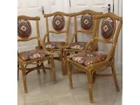 4 rotan chairs, patterned seats, lovely condition