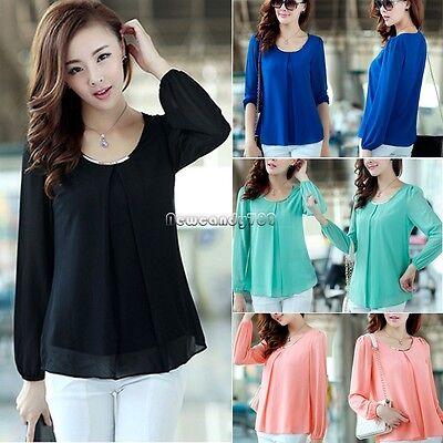 Women Long Sleeve Casual Chiffon Tops Shirts LOOSE Blouse T-shirts Fashion NC89 (Fashion Women Casual Chiffon)