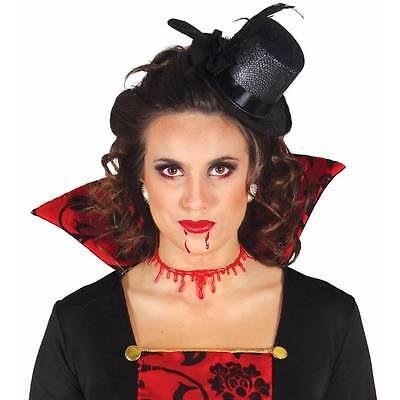 Blood Drip Scar Necklace Bloody Choker Slashed Neck Halloween Ladies Fancy Dress