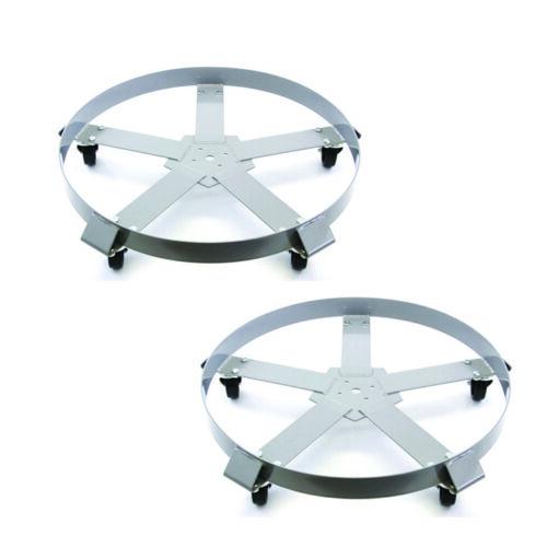 Drum Dolly 55 Gallon 5 Wheel Swivel Casters Heavy Steel Frame 1250 lbs x2
