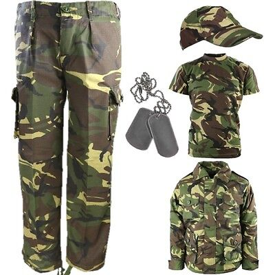 BOYS ARMY OUTFIT KIDS TROUSERS T-SHIRT COAT CAP DOG TAGS FANCY DRESS DPM CAMO (Childs Army Outfit)