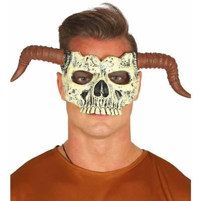 Halbes Gesicht Totenkopf Maske mit Hörner Ram Demon Halloween Kostüm