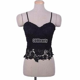 Size 8 Stunning black bustier/bra top with internal bra