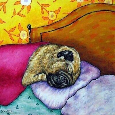 PUG Sleeping dog art tile coaster gift JSCHMETZ