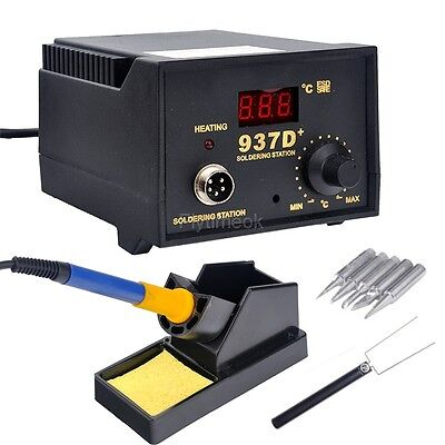 Soldering Station JP HEATER IRON Welding Solder SMD TOOL 5 Tips Stand ESD 937D+