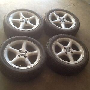 "Four 15"" 4x100mm aluminum rims with 195/50R15 tires!"