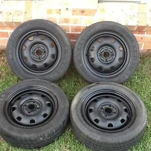 Four 14' X 5' Steel Rims with 4 X 100 Stud pattern. Tyres are 185 Prestons Liverpool Area Preview