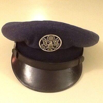 Original 1950s US Air Force Military Uniform Blue Dress Hat Cap Size 6 3/4