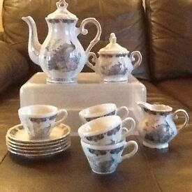 Japanese Style Tea set 5 espresso cups and saucers