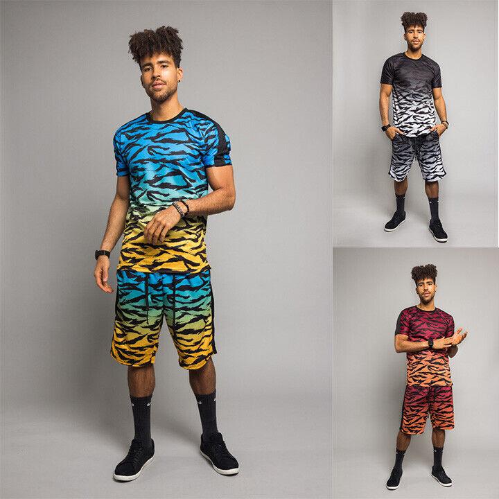 Men's Dye Gradient Tiger Camo Tracksuit Short Set T-Shirt an