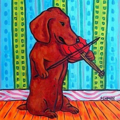 Used, Dachshund playing violin dog art tile coaster gift for sale  Guyton