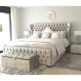 LIMITED OFFER ! BRAND NEW OXFORD WING DOUBLE SIZE CRUSHED VELVET FABRIC FRAME