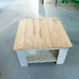 Up cycled side/coffee table for indoor or outdoor use.