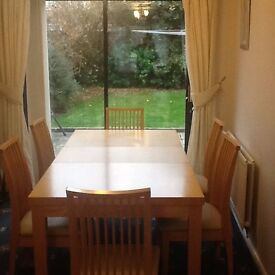 Long Extending Beech Dining Table, 6 chairs (Cream Leather seats) Bargain £250!!