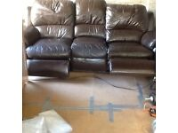 Land of leather 3 seats reclined leather sofa