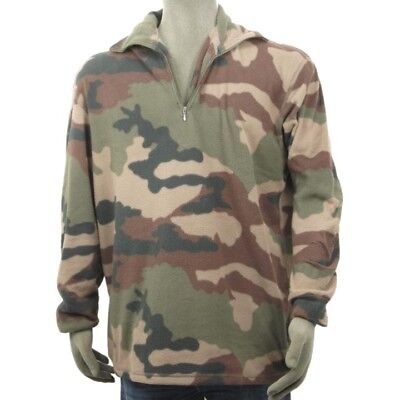 FRENCH ARMY SURPLUS CAMO FLEECE XL 2XL ZIP PULLOVER JUMPER MILITARY CAMOUFLAGE