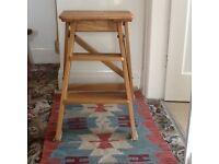 Solid oak folding step stool
